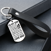 From Dad to Son - Steel & Leather Style Keychain