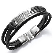 From Daddy to Daughter - Steel & Leather Style Bracelet