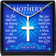 A Mother's Prayer For My Son - Keepsake Message Card & Steel Cross Necklace