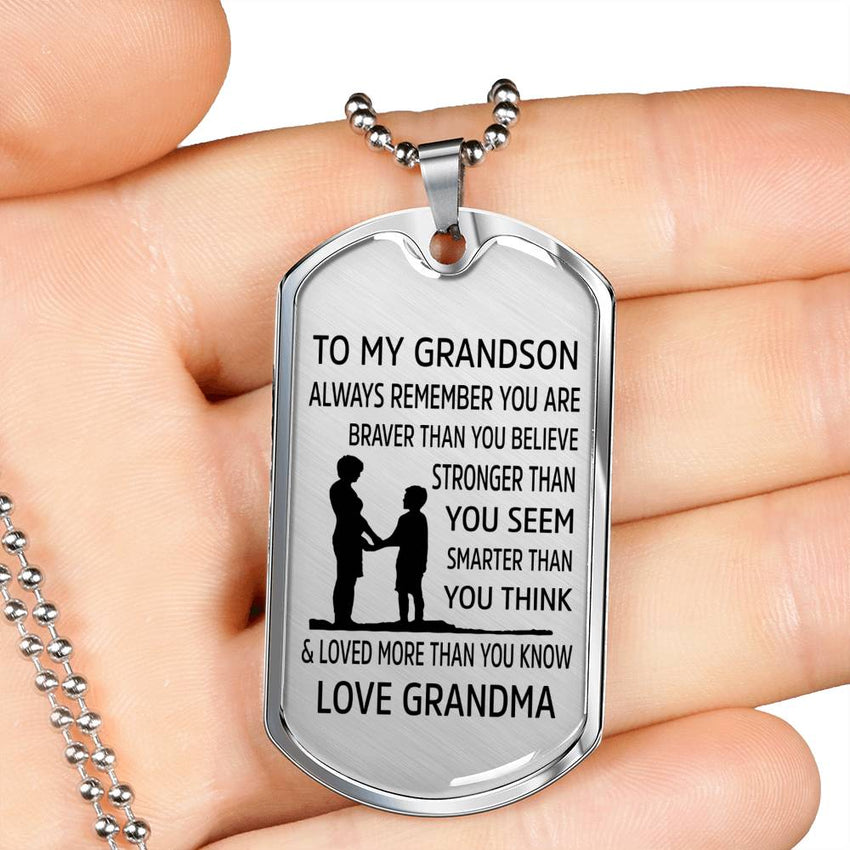 From Grandma to Grandson - Stainless Steel Dog Tag Necklace