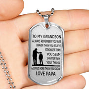From Papa to Grandson - Stainless Steel Dog Tag Necklace