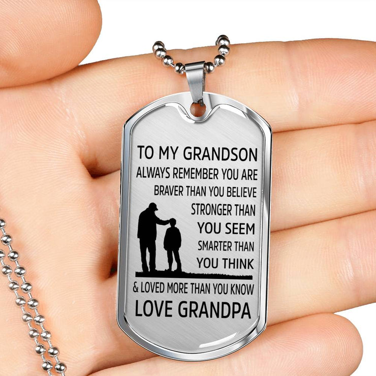 From Grandpa to Grandson - Stainless Steel Dog Tag Necklace