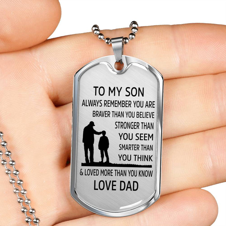 From Dad to Son - Stainless Steel Dog Tag Necklace
