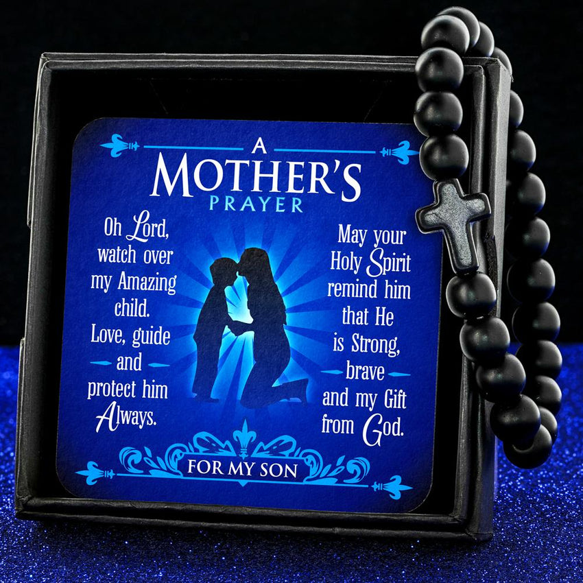 Black A Mother's Prayer For My Son - Keepsake Card with Stone Cross Bracelet