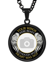 Black Your Wings Were Ready Memorial Photo Necklace