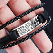 From Dad to Son - Steel & Leather Style Bracelet
