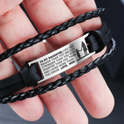 From Mom to Daughter - Steel & Leather Style Bracelet