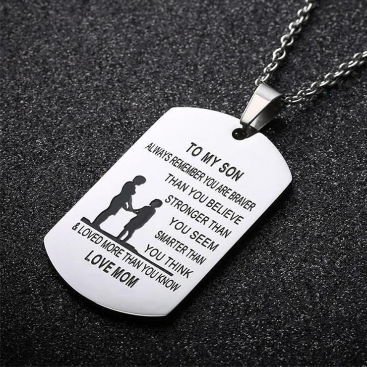 From Mom to Son - Stainless Steel Dog Tag Necklace – LOVE