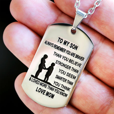 From Mom to Son - Stainless Steel Dog Tag Necklace