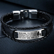 From Mom to Son - Steel & Leather Style Bracelet