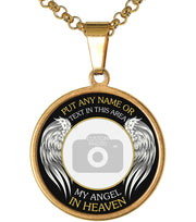 Gold My Angel in Heaven Memorial Photo Necklace