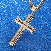 Gold Philippians 4:13 Jewelry Stainless Steel Cross Necklace w/ Figaro Chain