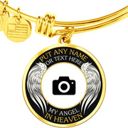 Gold Stainless Angel in Heaven Memorial Photo Bangle