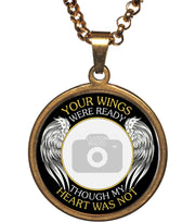 Gold Your Wings Were Ready Memorial Photo Necklace