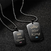 Her King & His Queen Stainless Steel w/ Stone Dog Tags