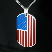 Personalized American Flag Dog Tag Necklace
