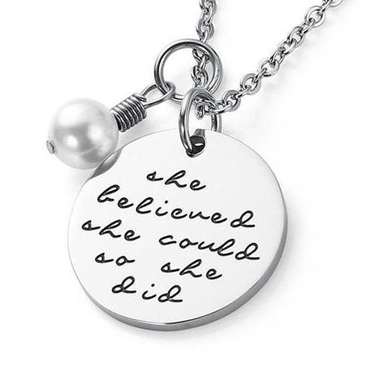 'She Believed She Could So She Did' Personalized Necklace