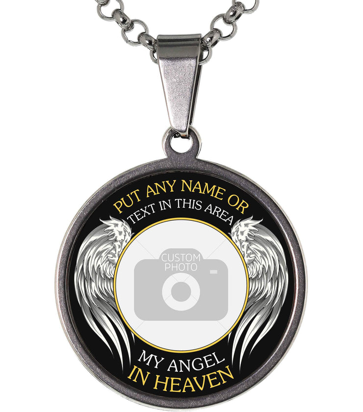Silver My Angel in Heaven Memorial Photo Necklace