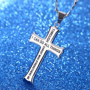 Silver Philippians 4:13 Jewelry Stainless Steel Cross Necklace w/ Figaro Chain