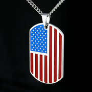 Silver RWB Personalized American Flag Dog Tag Necklace