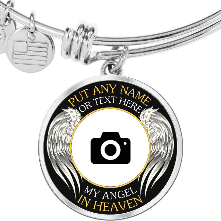 Silver Stainless Angel in Heaven Memorial Photo Bangle