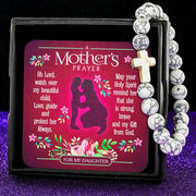 White A Mother's Prayer For My Daughter - Keepsake Card with Stone Cross Bracelet