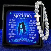 White A Mother's Prayer For My Son - Keepsake Card with Stone Cross Bracelet