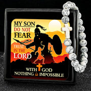 White To My Son, Do Not Fear - Keepsake Card with Stone Cross Bracelet