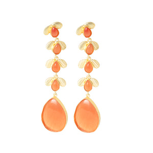 Ferosh Pink Stone Gold Earring For Women - Drop Earring Online