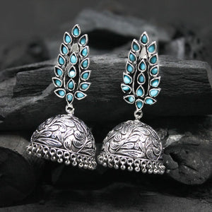 Gaura Turquoise Floral Silver Oxidized Jhumki Earrings - Ferosh