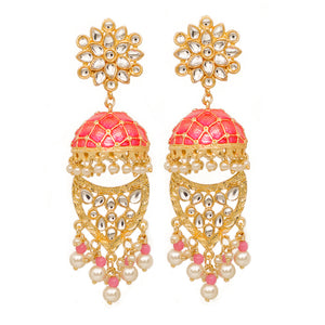 Farzeen Golden-Pink Jhumki Stonework Chandbali Earrings