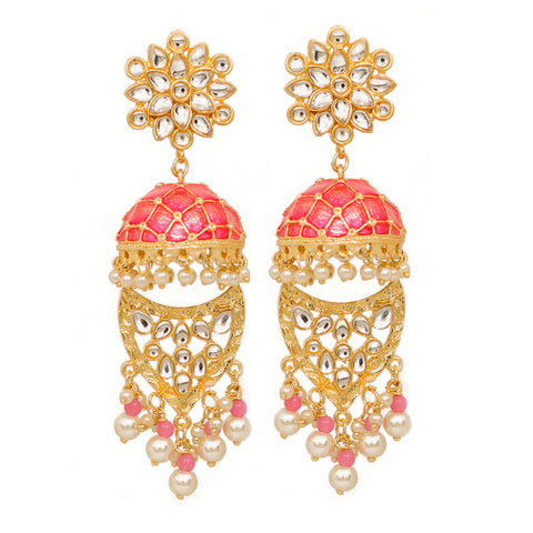 Farzeen Golden-Pink Jhumki Stonework Chandbali Earrings - Ferosh
