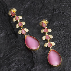 Pariyat Pink Golden Drop Earrings - Ferosh