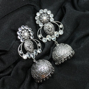 Ferosh Silver Oxidized Ethnic Jhumka For Women - Earrings Online