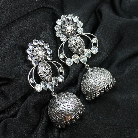 Hina Silver Oxidized Jhumki Earrings - Ferosh