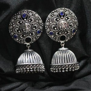 Ferosh Silver Oxidized Ethnic Drop For Women - Earrings Online