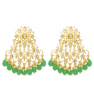Mahika Golden Light Green Floral Stonework Pastel Charms - Ferosh