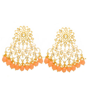 Mahika Golden Orange Floral Stonework Pastel Charms - Ferosh