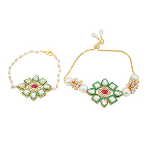 Ojasvi Golden Peach Stonework Drop Ethnic Earrings - Ferosh