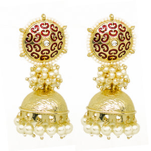 Vinaya Golden Pearl Bunch Jhumkas
