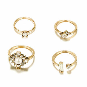 Sava Golden 4 Pcs Ring Set - Ferosh