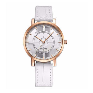Classic Golden Dial White Leather Strap Watch - Ferosh