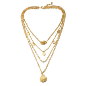 Como Golden Seashell Trinket Layered Neckpiece - Ferosh
