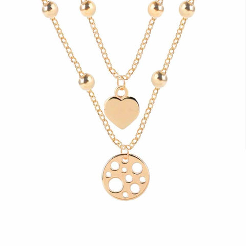 Ferosh Sherrill Circular Love Golden Layered Necklace