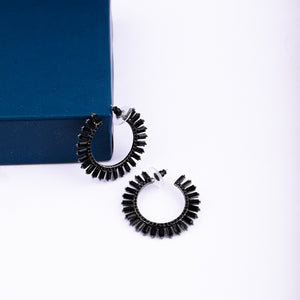 Diana Black Crystal Golden Hoops - Ferosh