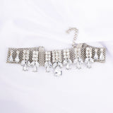 Daniela Silver Crystal Statement Choker Necklace - Ferosh