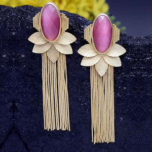 Dhriya Pink Leafy Golden Tassel Drop Earrings - Ferosh