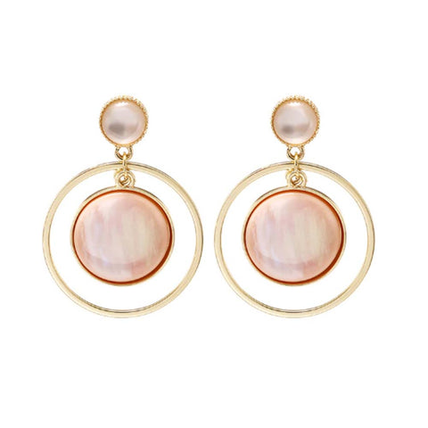 Divina Golden Pink Concentric Circular Earrings - Ferosh