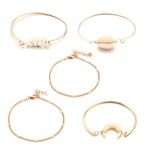 Dinara Shell Golden 5 Pcs Bracelets Set - Ferosh
