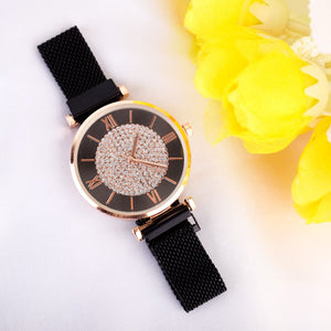 Edrea Black Bling Magnetic Strap Watch - Ferosh